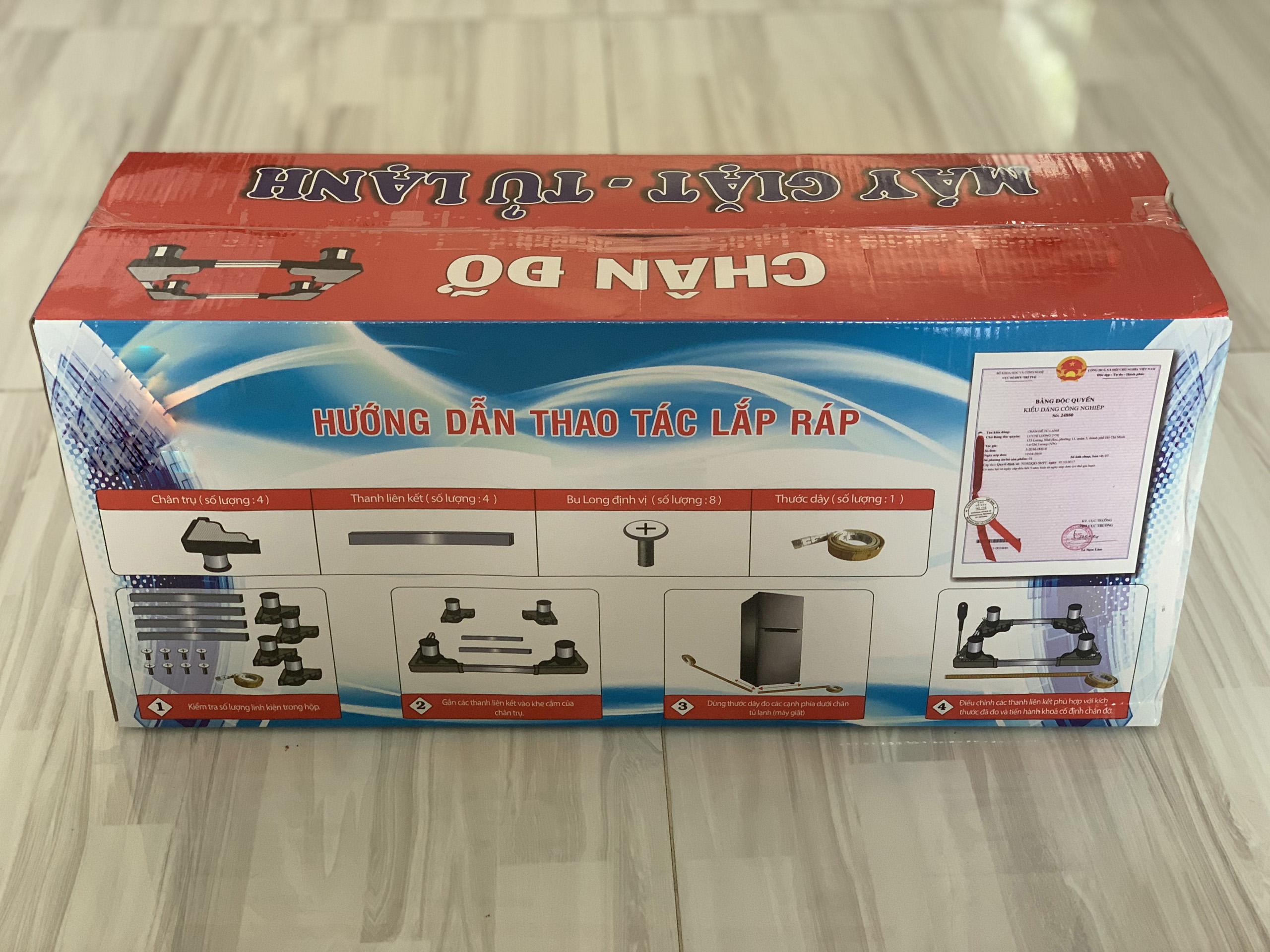 Kệ chân đế máy giặt tủ lạnh inox cao cấp 55x77cm INOX dày 1mm