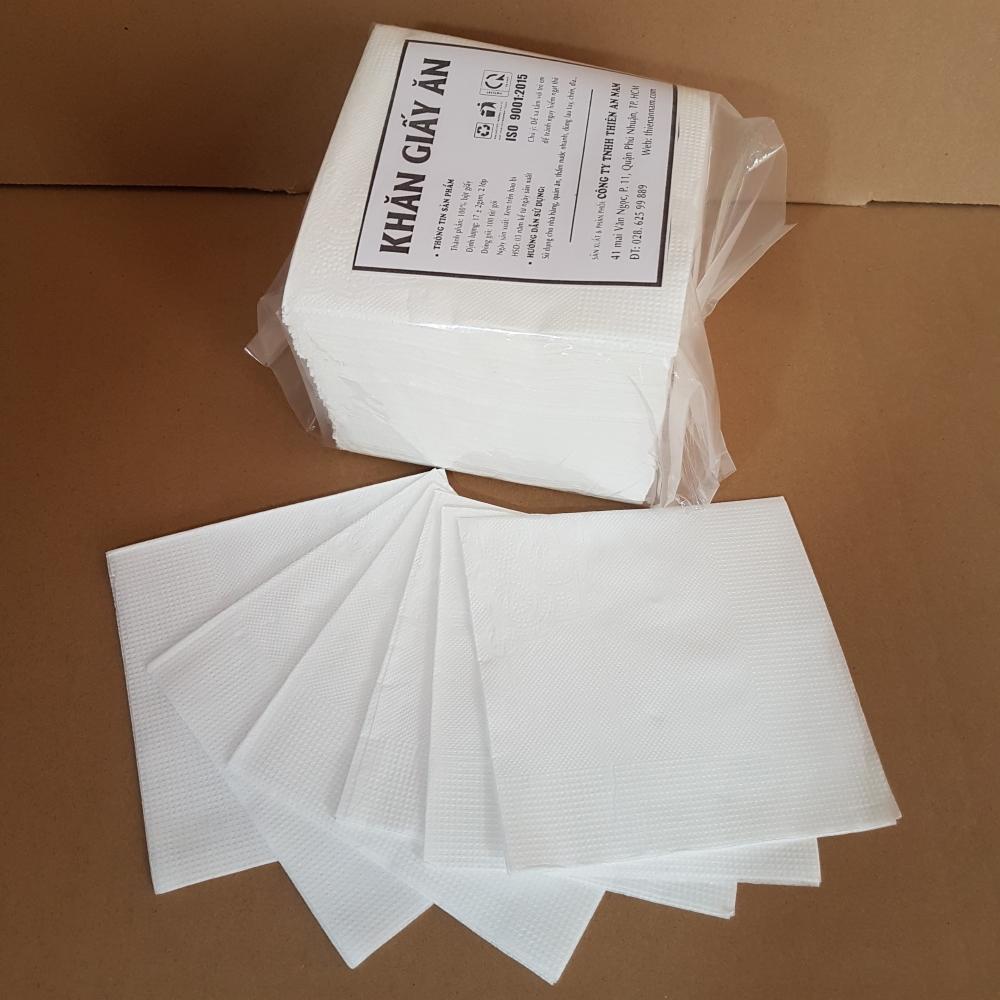 Thùng (22 gói) khăn giấy ăn Napkin vuông nhỏ cao cấp 2 lớp có ép hoa văn - 100 tờ/gói - 240x240mm