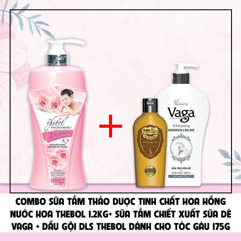 Combo sữa tắm hoa hồng Thebol 1.2kg + Sữa tắm sữa dê Vaga 580g + Dầu gội dược liệu sạch Thebol trị gàu 175g