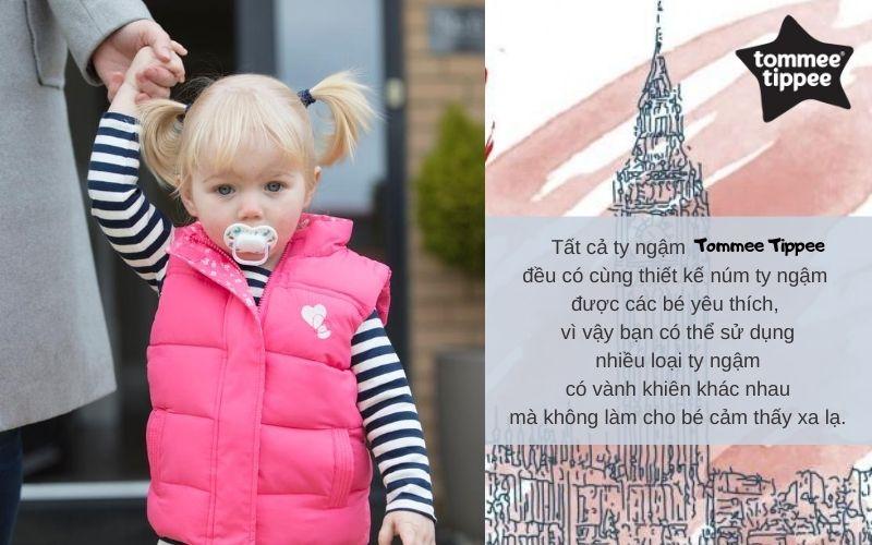 Ty ngậm cho bé Tommee Tippee Little London  0-6 tháng (vỉ 2 cái) - Xanh/Trắng
