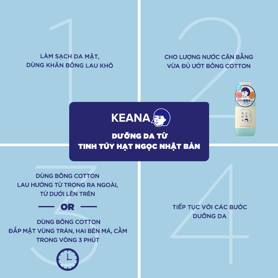 Nước Cân Bằng Cám Gạo Keana Rice Toner Dưỡng Ẩm Sáng Da (200ml) - NHẬP KHẨU NHẬT BẢN