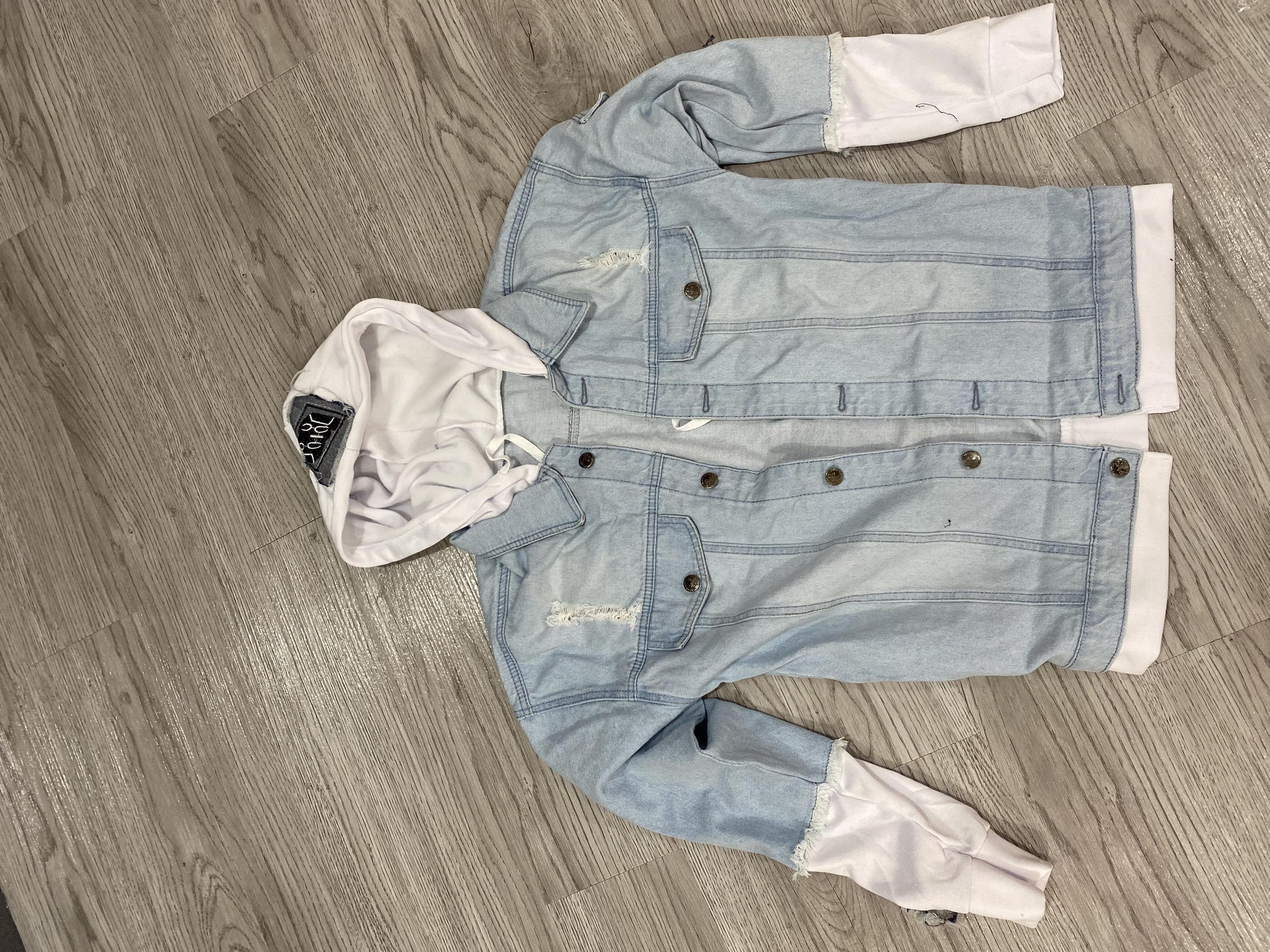 Hình ảnh Áo khoác jeans nam in hình cún dễ thương mặt cười , áo khoác nam form vừa phối nỉ mềm co dãn lôi cuốn có mũ có 3 size Julido mẫu khoác AKJ8686 - Màu Xanh