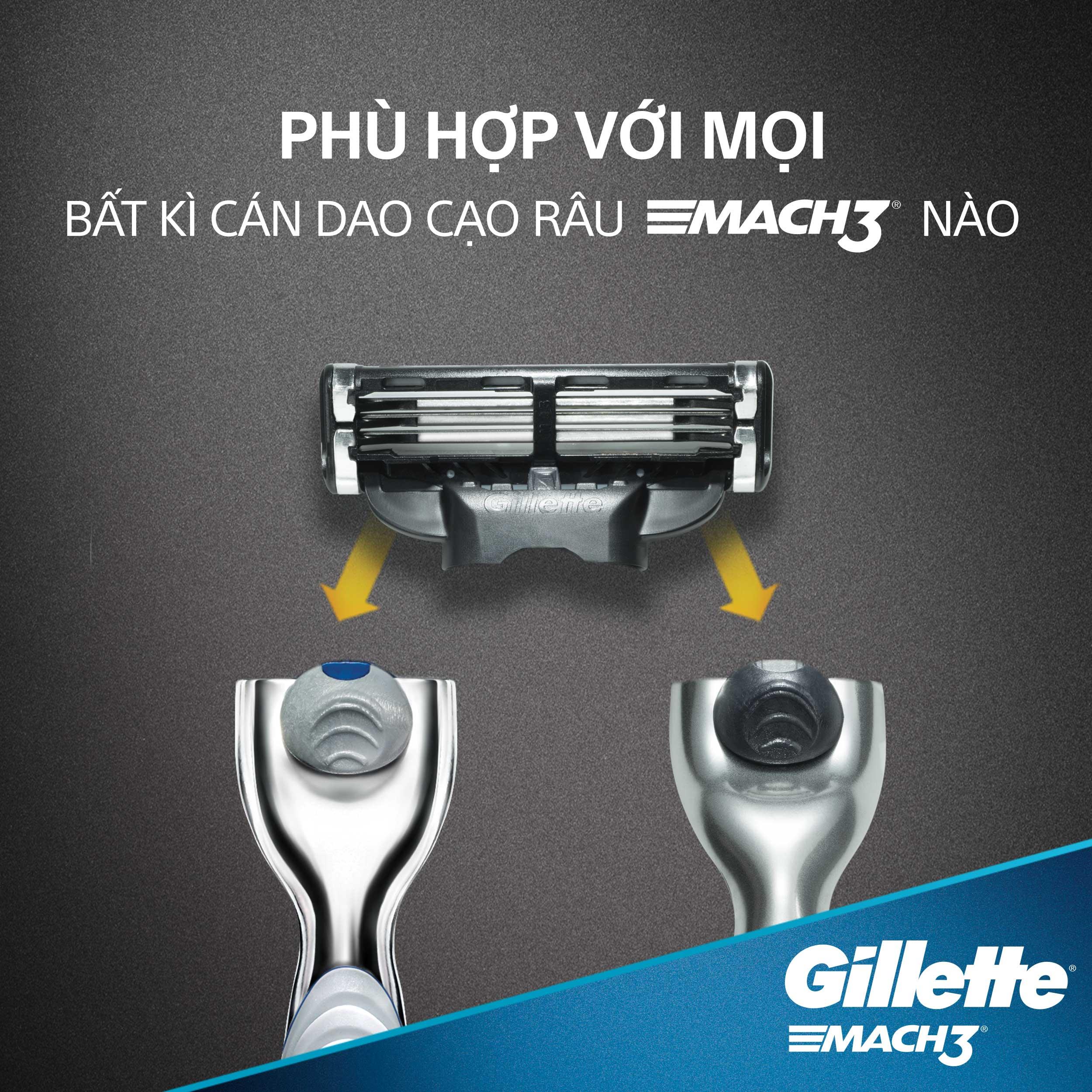 Dao Cạo Râu Gillette Mach 3 Classic Và Bọt Cạo Râu Gillette Hương Bạc Hà Chai 175G