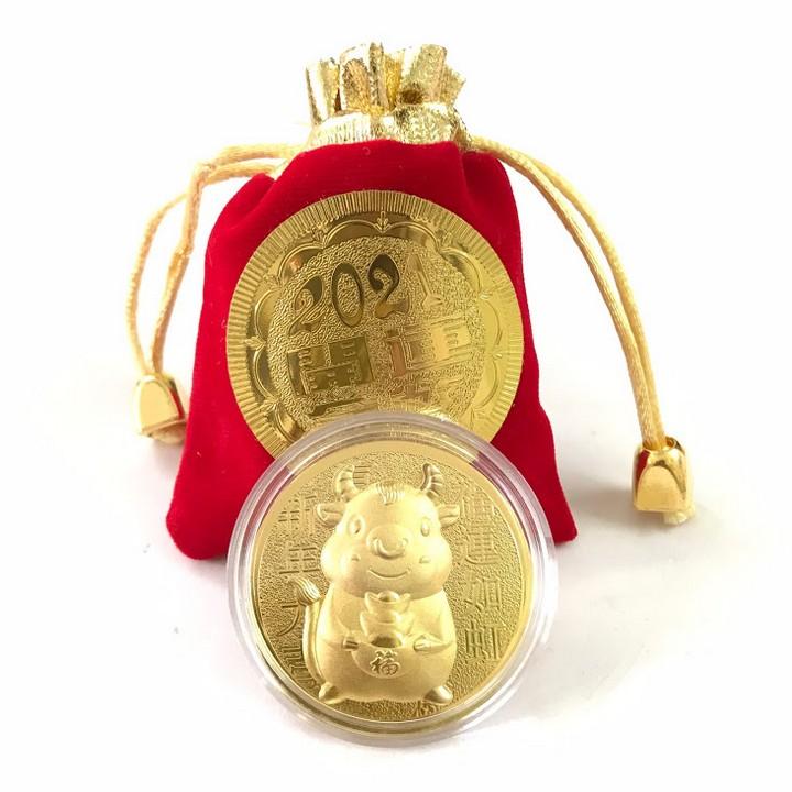 Đồng xu con Trâu cute tặng túi gấm 2021(có 4 mẫu), làm quà tặng, lì xì Tết, trang trí trên cây hoa mai, bỏ túi mang theo - TMT Collection - SP005045