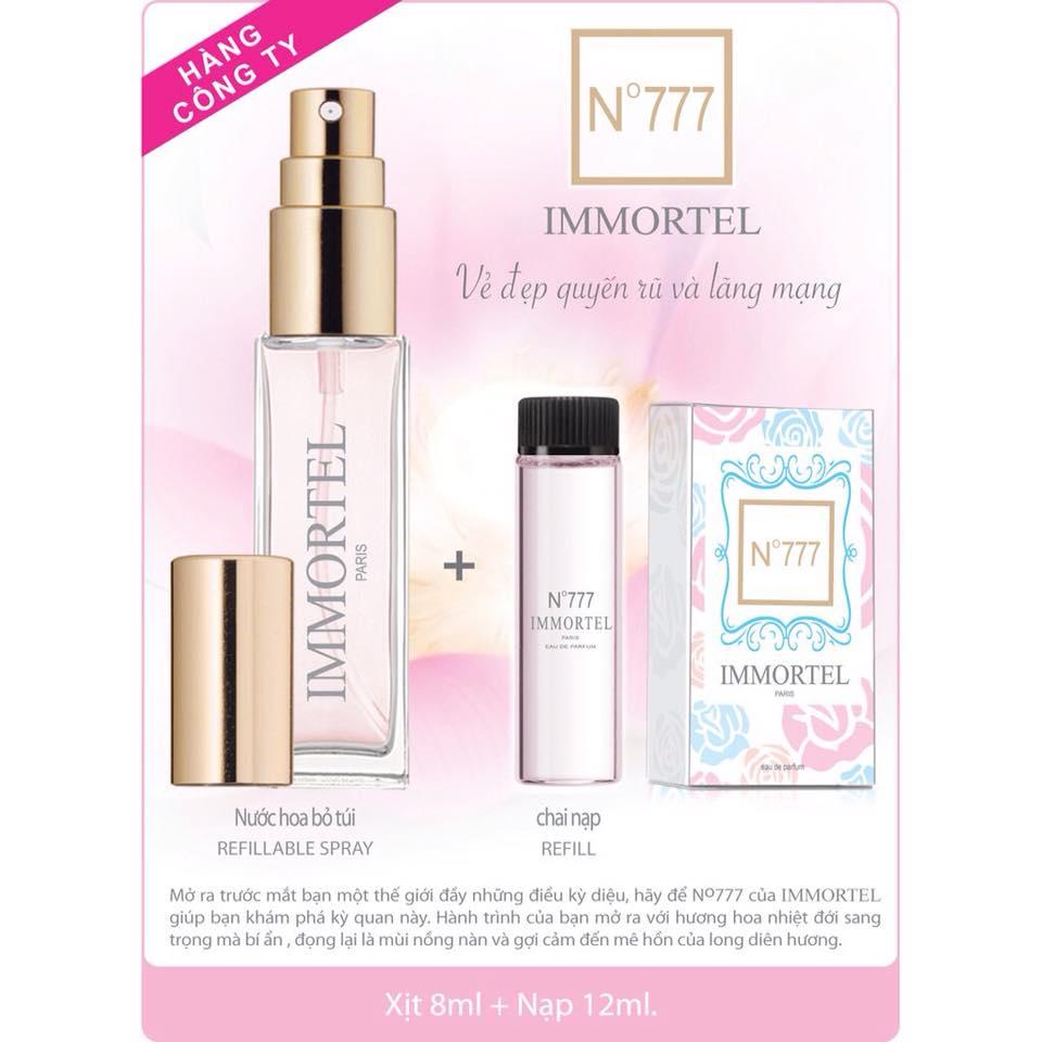 Nước hoa Immortel No777  (Gồm chai xịt  8ml + chai nạp 12ml)