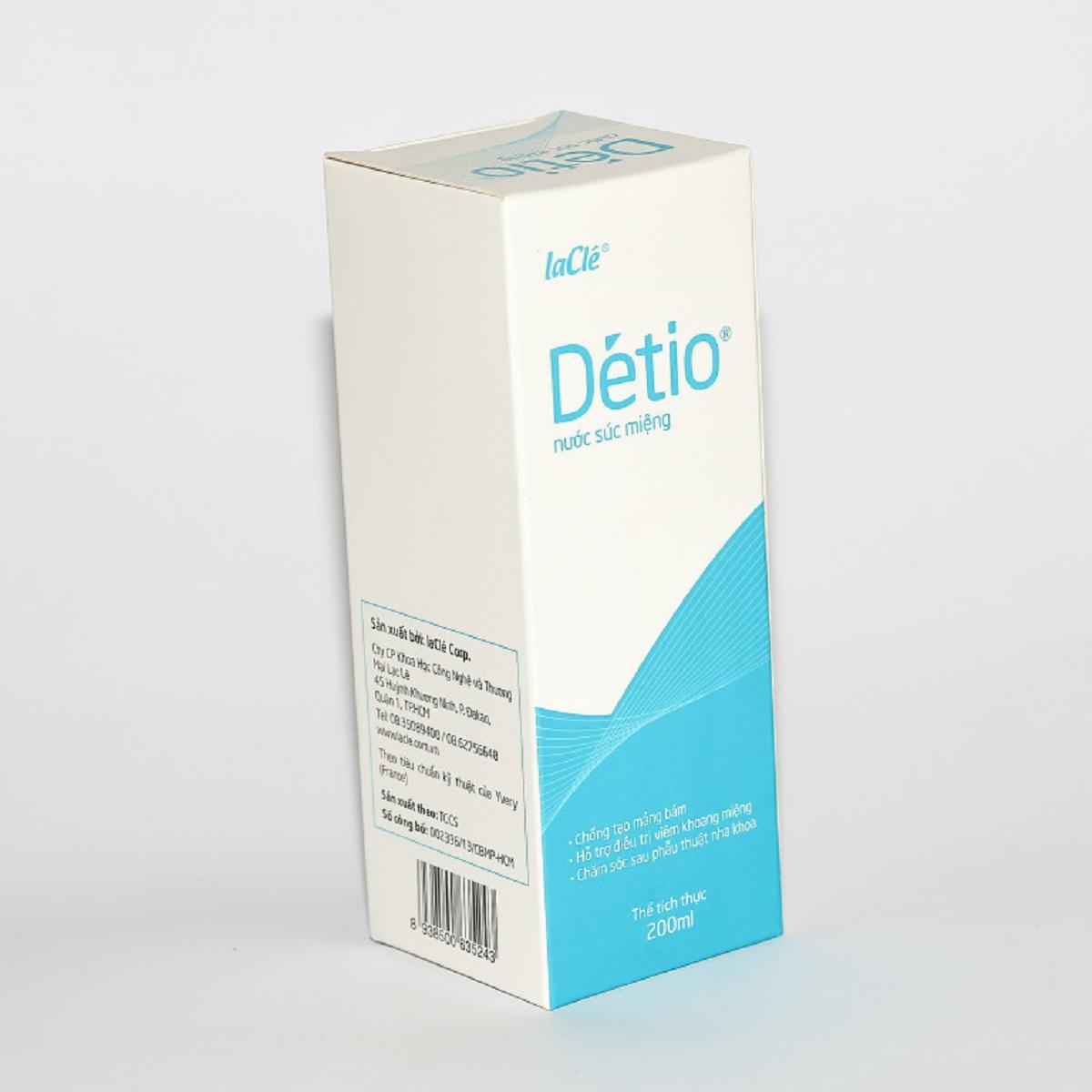 Détio – Nước Súc Miệng công nghệ Pháp, có chất sát khuẩn cực mạnh giúp vệ sinh răng miệng, hỗ trợ điều trị viêm trong khoang miệng dành cho Người Hôi Miệng, Chảy Máu Chân Răng(Chai 200ml)