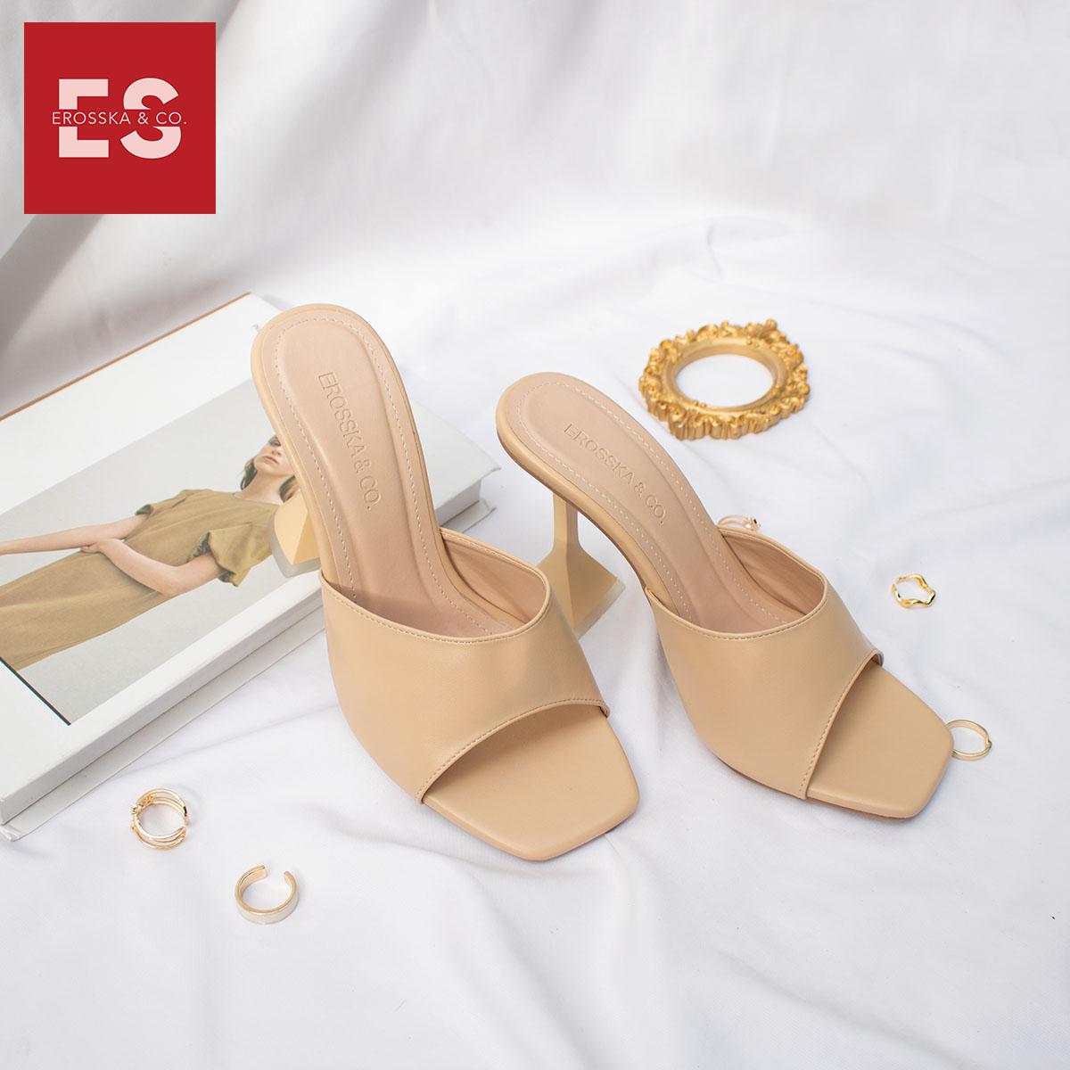 Dép cao gót thời trang Erosska mũi hở đế nhọn hình nón kiểu dáng đơn giản dễ phối đồ cao 9cm EM061