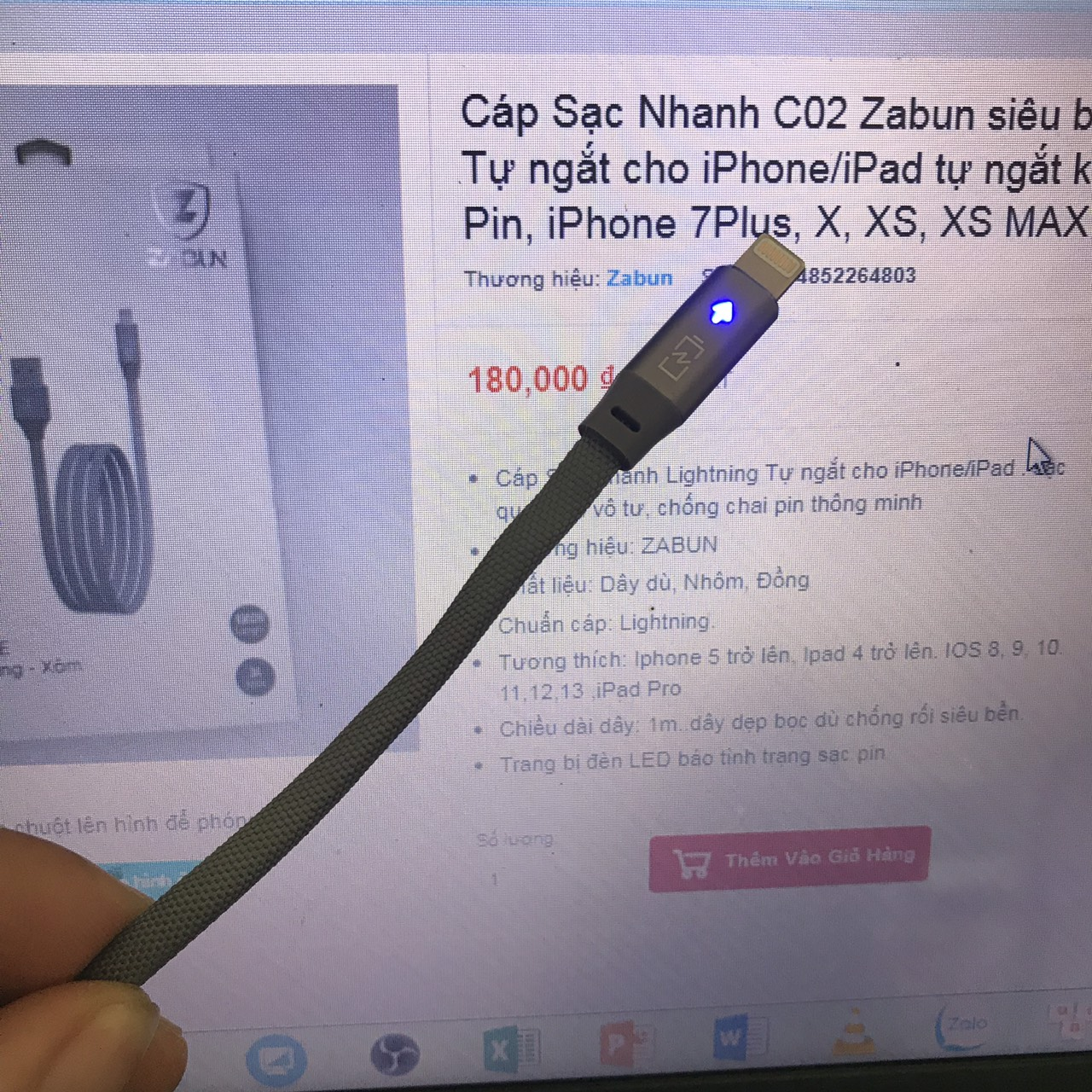 Cáp Sạc Nhanh C02 Zabun siêu bền Lightning Chính hãng Tự ngắt cho iPhone/iPad tự ngắt khi pin đầy Chống Chai Pin, iPhone 7Plus, X, XS, XS MAX