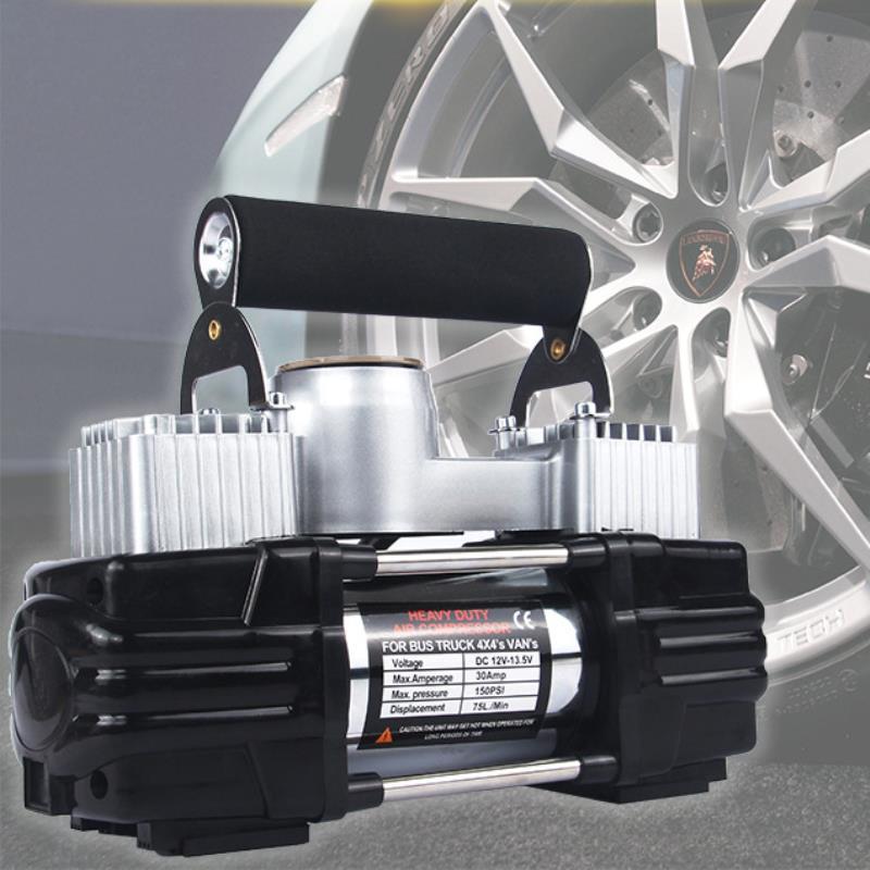 Máy bơm lốp ô tô 12V TBO-350W 2 pít tông, Bơm lốp xe hơi, bơm vỏ xe Sedan, SUV, Bán tải, Xe tải nhỏ