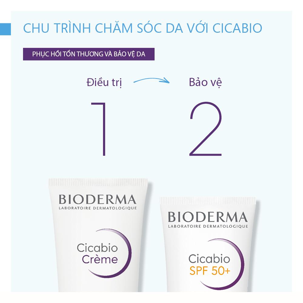 Kem Dưỡng Phục Hồi Da Tổn Thương Và Hạn Chế Tăng Sắc Tố Sau Viêm Bioderma Cicabio Creme Spf 50+ 30ml