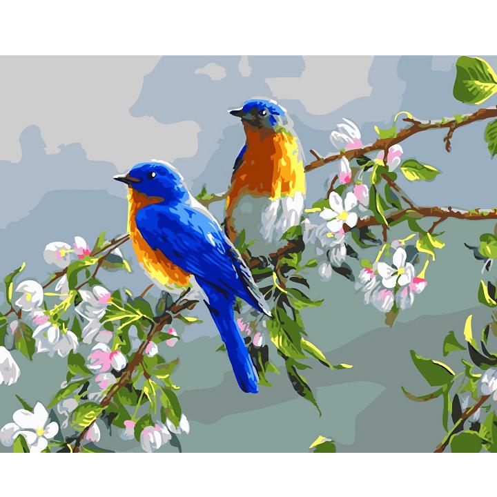 Tranh sơn dầu số hoá tự vẽ đã căn sẵn khung 40x50 cm - Đôi chim xanh