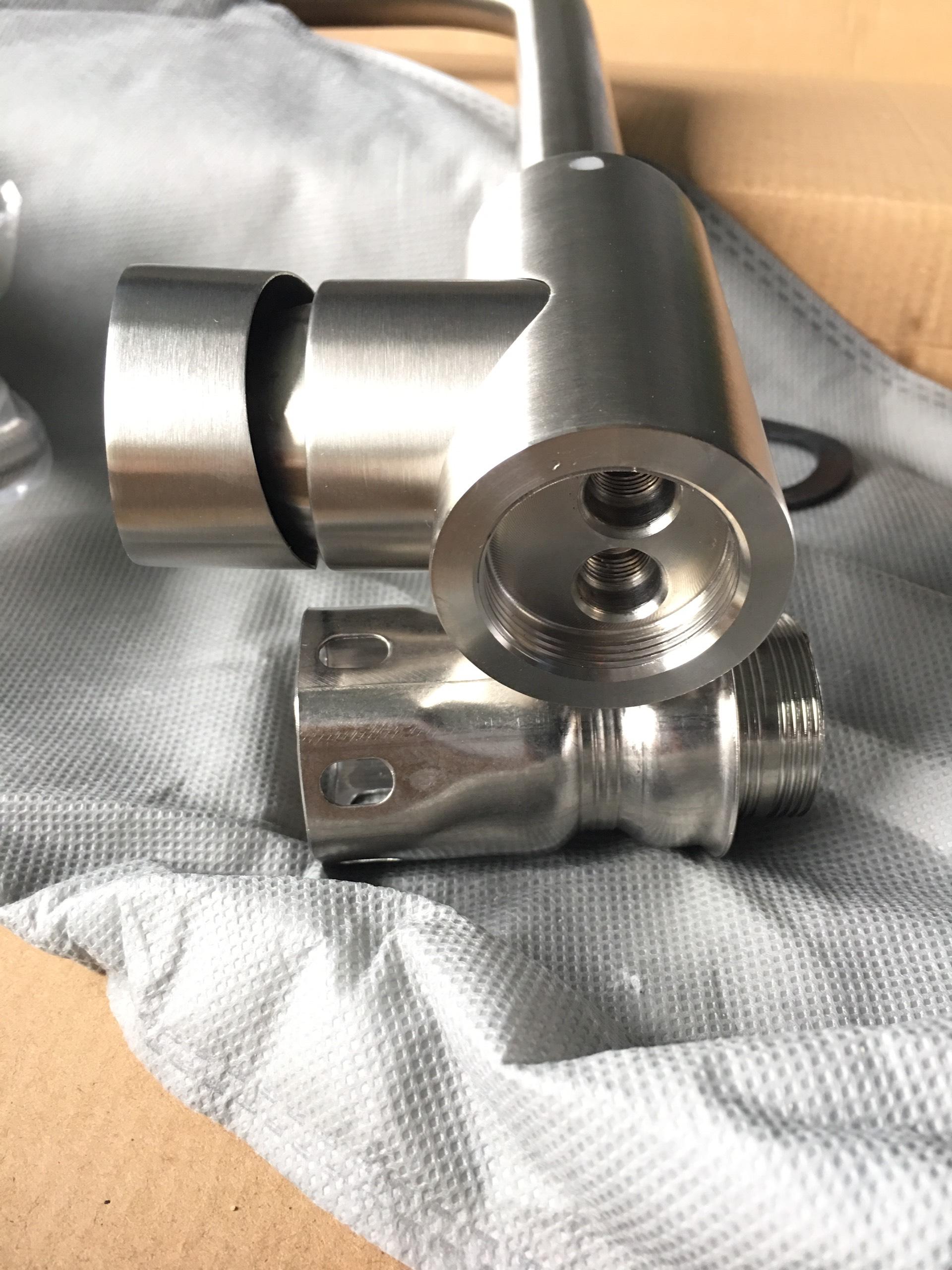 Vòi inox 304 nóng lạnh cong dùng cho mọi bồn - tặng kèm dây cấp nóng lạnh 304 60cm