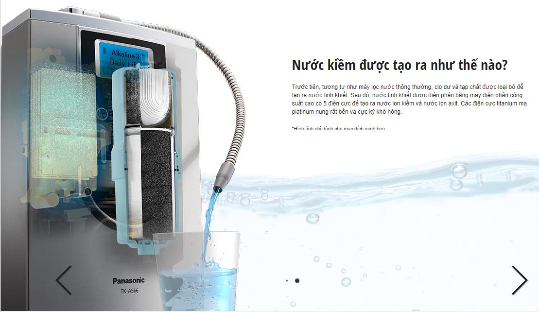 Máy tạo nước ion kiềm Panasonic TK-AS66- Hàng chính hãng - Sản xuất tại Nhật Bản 5 tấm điện cực 7 chế độ nước sử dụng cho gia đình tạo ra nước ion kiềm tốt cho sức khỏe