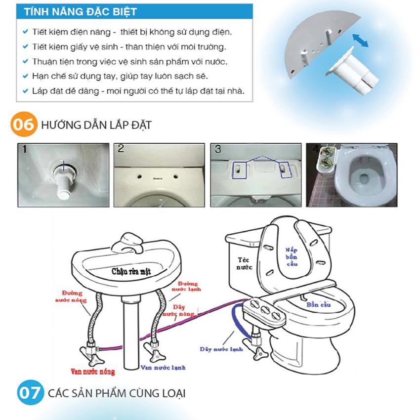 Vòi rửa vệ sinh Hyundae Bidet phiên bản cao cấp vòi nóng lạnh – HB8200