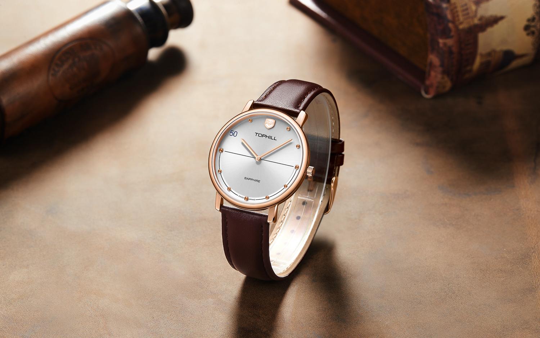 Đồng hồ nam dây da chính hãng Thụy Sĩ TOPHILL TS011G.PZ3252