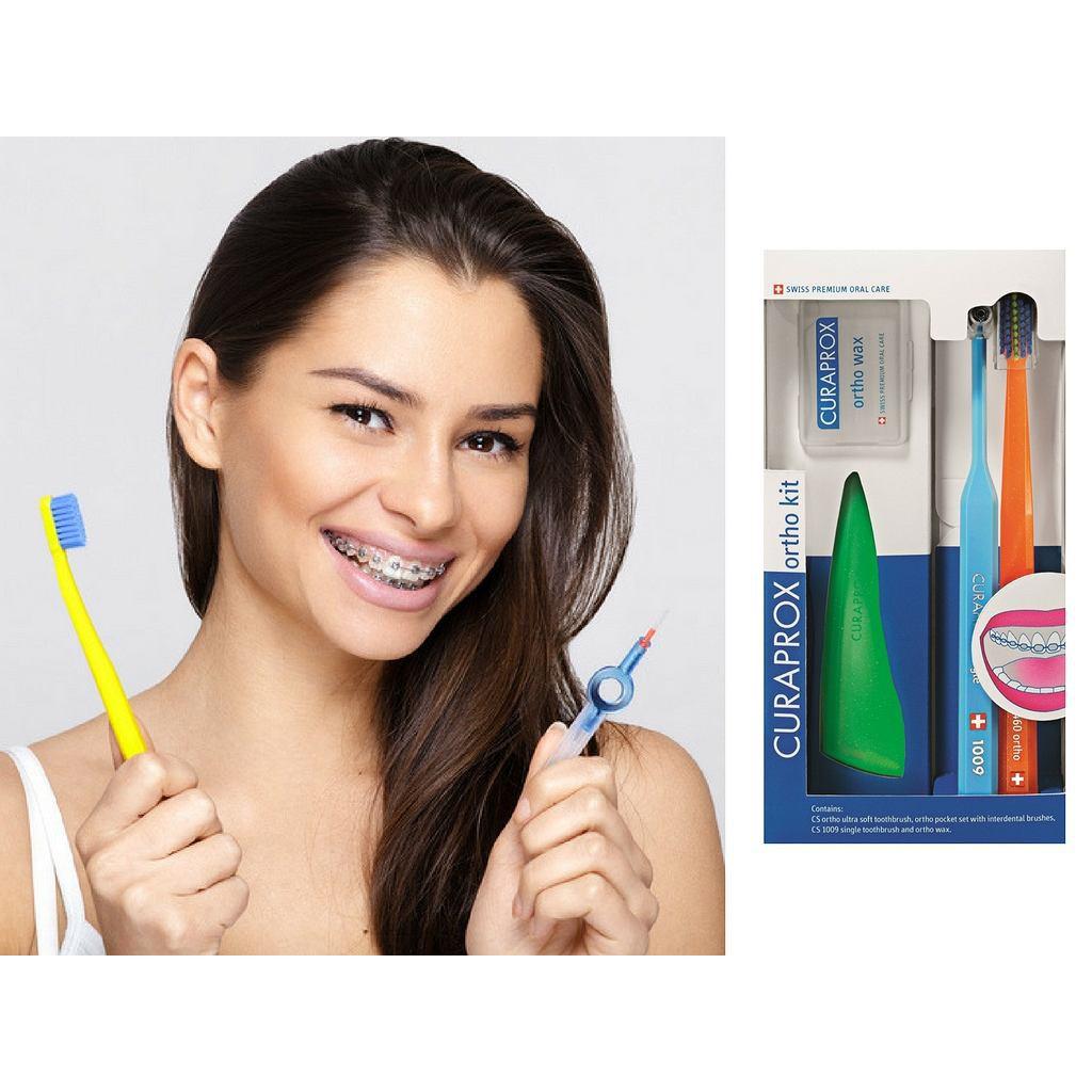 Bộ chăm sóc răng niềng Curaprox Ortho Kit (Màu sắc bàn chải bất kỳ)