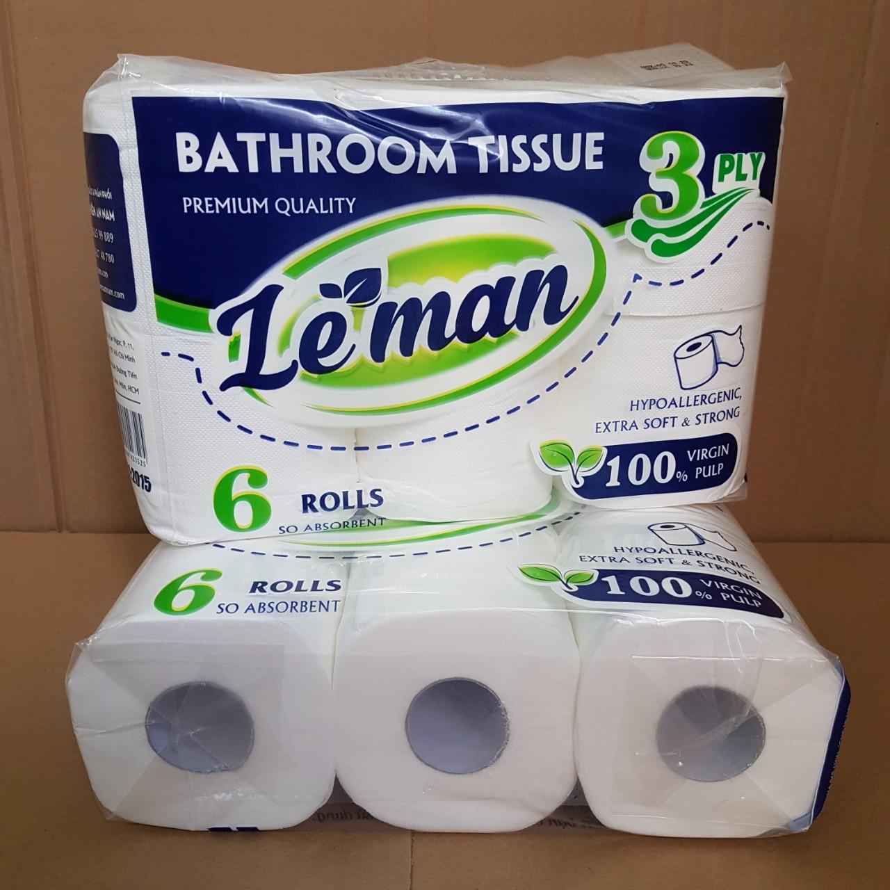 Combo 5 lốc giấy vệ sinh Leman Xanh - 6 cuộn/ lốc