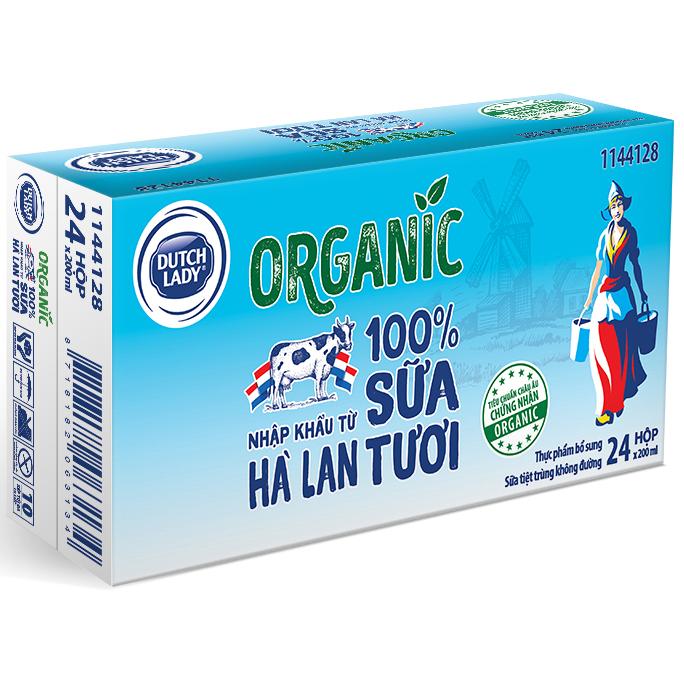 Hình ảnh Thùng 24 Hộp Sữa Tươi Tiệt Trùng Dutch Lady Cô Gái Hà Lan Organic (24X200ml)