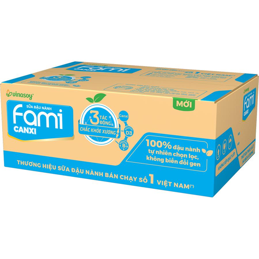 Hình ảnh Thùng Sữa Đậu Nành Vinasoy Fami Canxi (200ml x 40 Bịch)