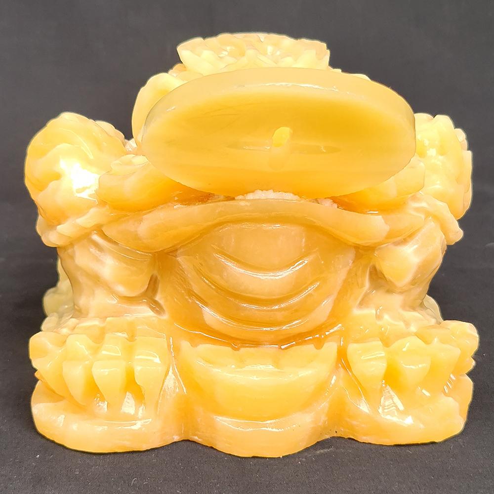 Thiềm Thừ - Cóc Ba Chân Ngậm Tiền Đá Ngọc Hoàng Long Vàng - 12 Cm - Mx - Hợp Mệnh Kim, Thổ