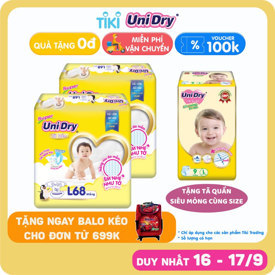 Combo 2 Tã Dán UniDry Gói Cực Đại size L68 (68 miếng) - Tặng 1 Tã Quần Siêu Mỏng UniDry Ultrathin L9