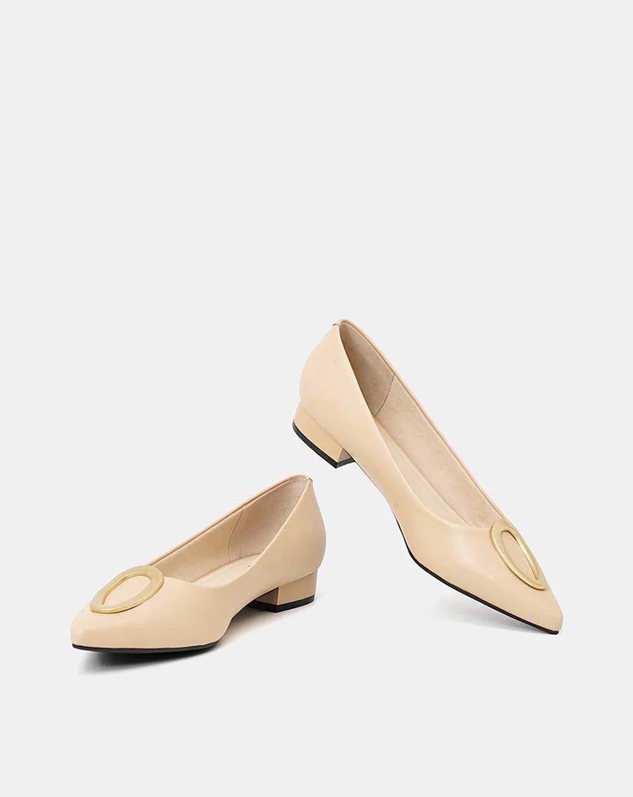 JUNO - Giày búp bê mũi nhọn khóa trang trí - BB03058