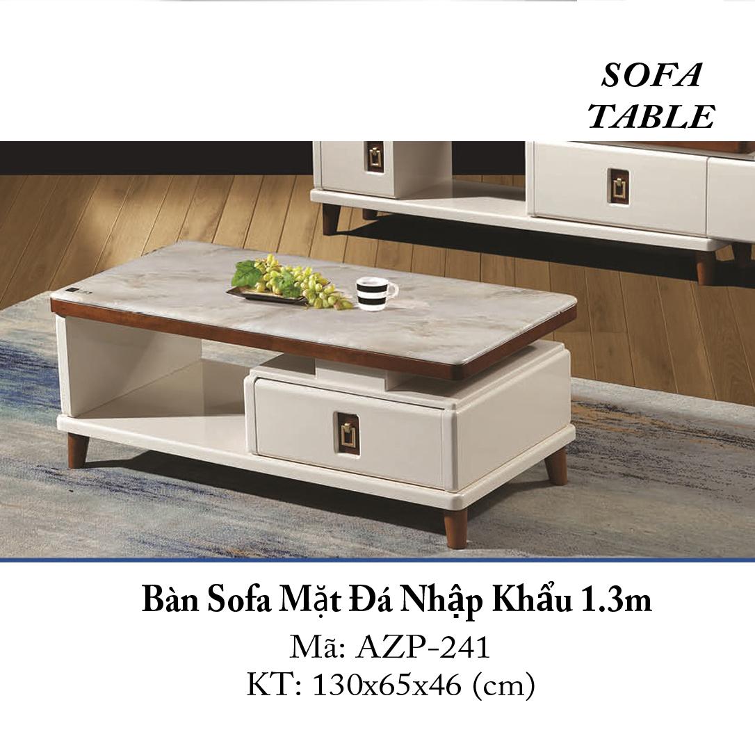 Bàn Sofa Mặt Đá Size 1.3m / 1 Ngăn Kéo / Dòng Cao Cấp - Hàng Nhập Khẩu AZP-T241-13