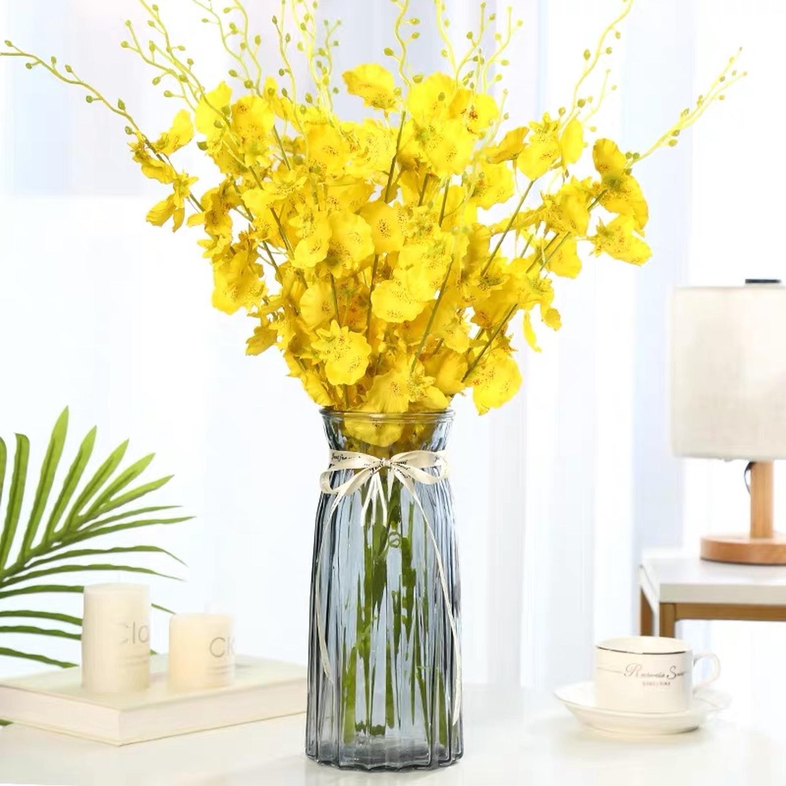 Bình hoa, Lọ cắm hoa thủy tinh hiện đại màu xanh