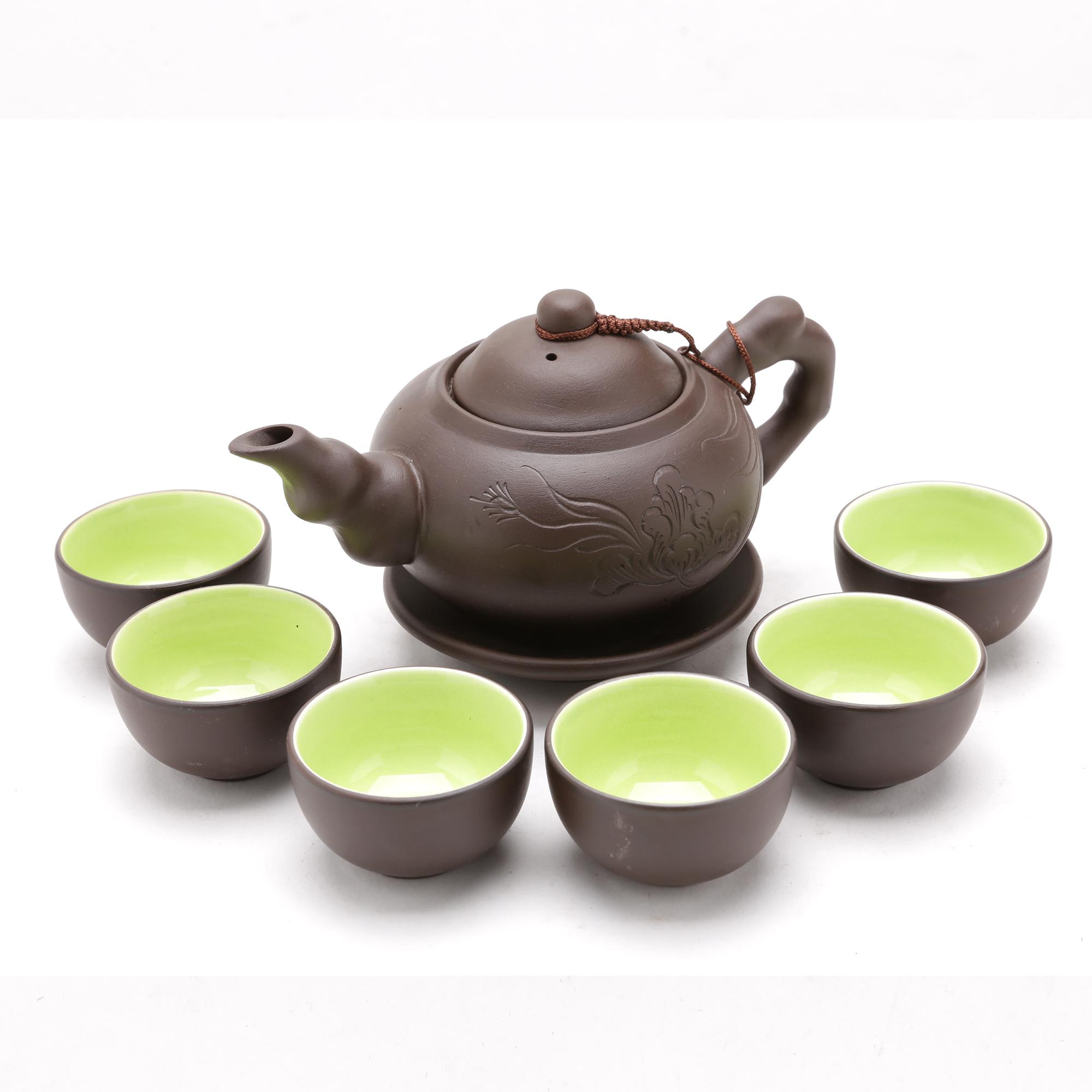 Bộ bình trà Tử Sa ( Ấm chén Tử Sa ) khay lá MNV-BT193