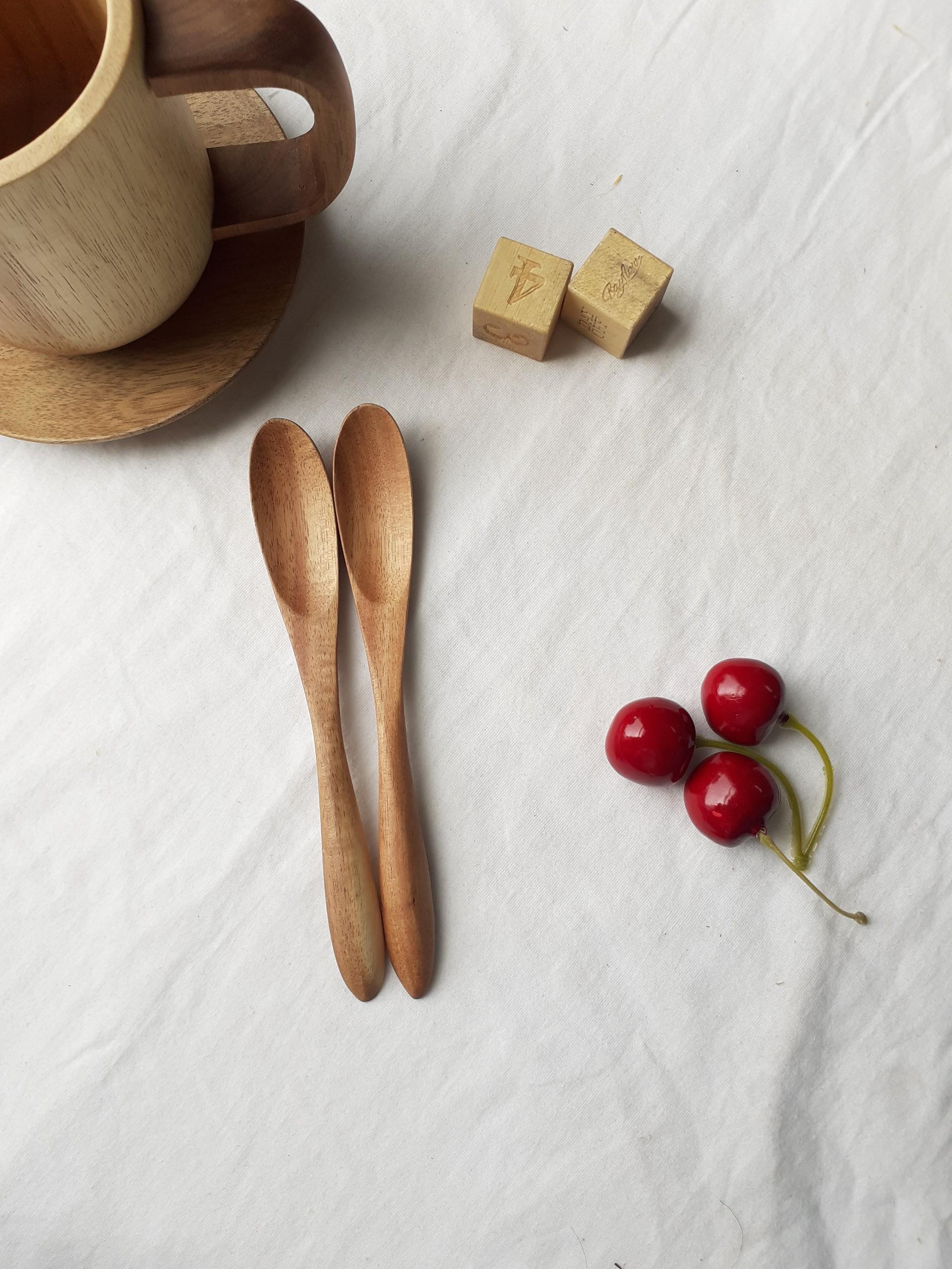 Bộ 6 thìa muỗng cafe , sinh tố gỗ KEO nhỏ màu gỗ trầm 15cmx2cm-TG14