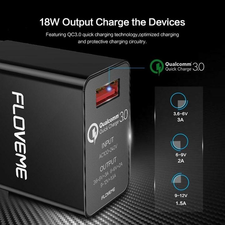 Củ sạc nhanh Floveme Quick Charge 3.0 chip Qualcomm sạc đầy điện thoại, máy tính bảng trong thời gian ngắn.
