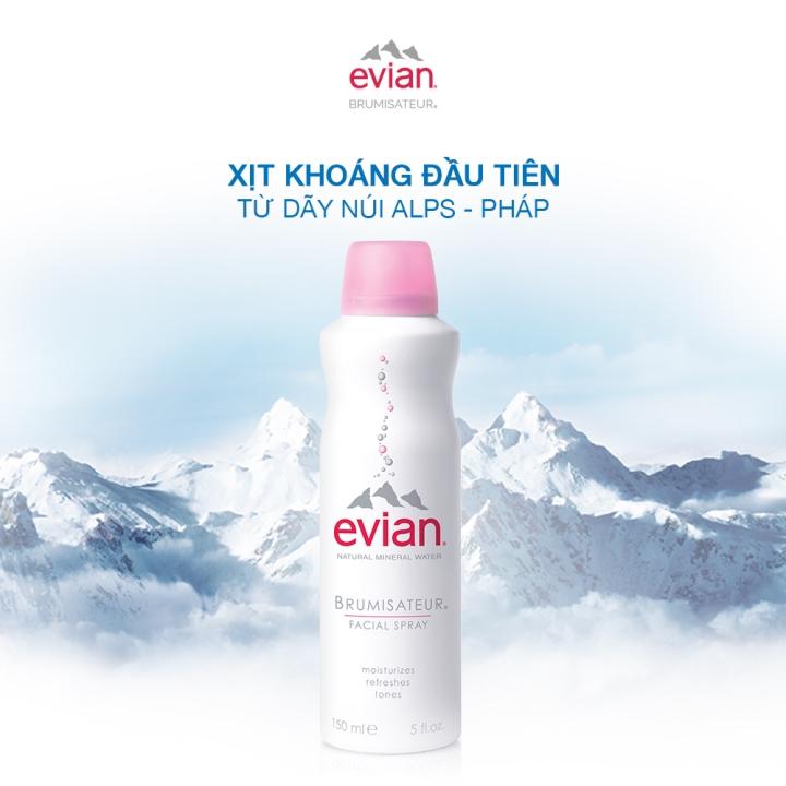 Xịt khoáng cấp ẩm và làm dịu da Evian Brumisateur 150ml