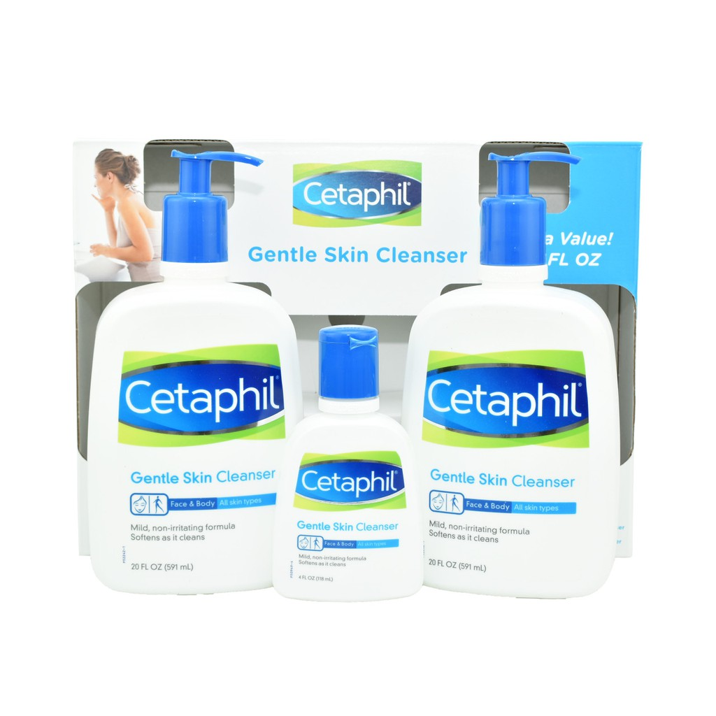 Bộ sữa rửa mặt Cetaphil Gentle Skin Cleanser (2 chai 591ml và 1 chai 118ml) - Nhập khẩu Mỹ