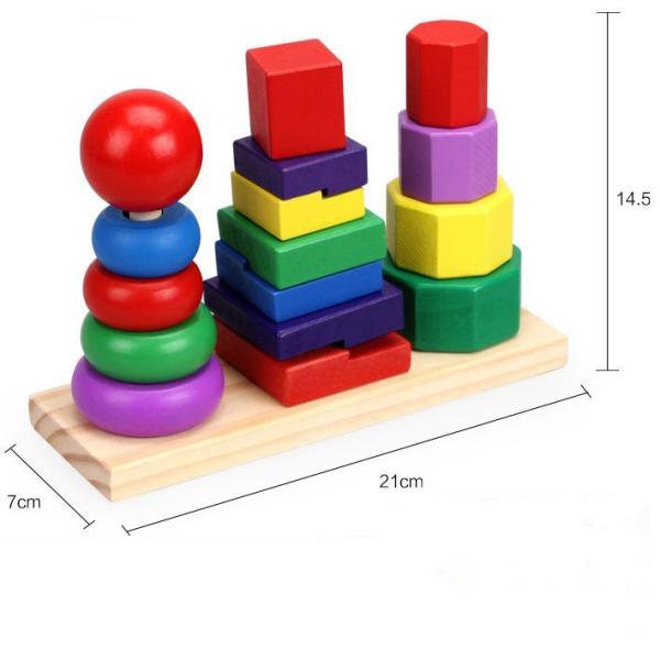 Tháp xếp chồng 3 trụ hình khối, đồ chơi gỗ cho bé phát triển kỹ năng toàn diện