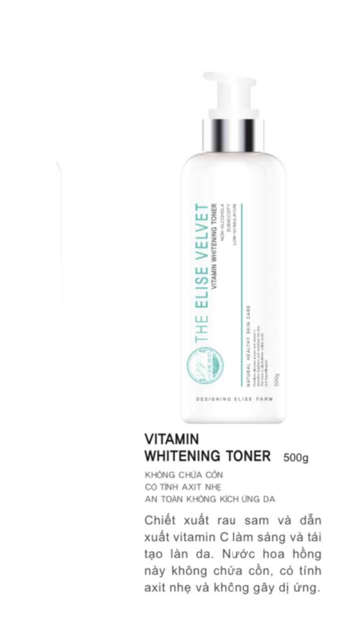 Nước hoa hồng se khít lỗ chân lông Lindsay (The elise velvet vitamin whitening toner) 500ml
