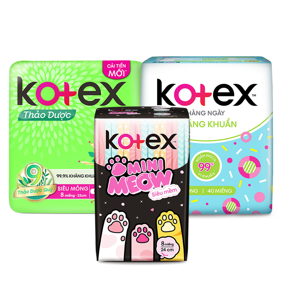 Combo Băng Vệ Sinh Kotex hằng ngày kháng khuẩn 40 miếng + Thảo dược SMC 8 miếng + Mini Meow SMC 8 miếng