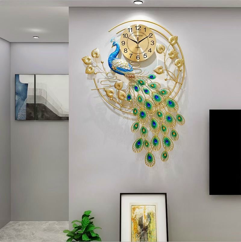Đồng hồ treo tường trang trí chim công sang chảnh phong cách hiện đại DH2878