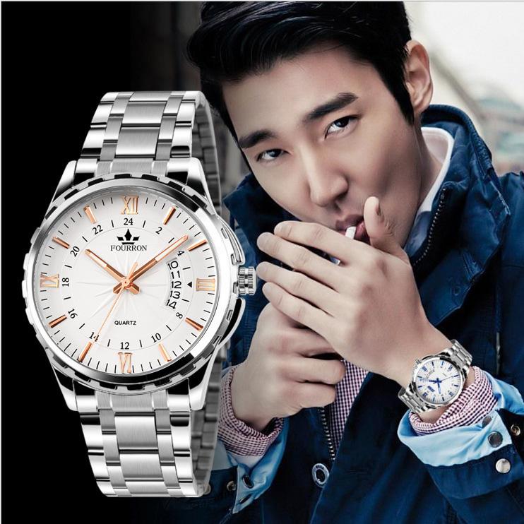 Đồng Hồ Nam Fourron Lịch Ngày chính hãng nam sinh viên thể thao thạch anh đồng hồ thời trang chống thấm nước xu hướng thời trang dây hợp kim thép không gỉ
