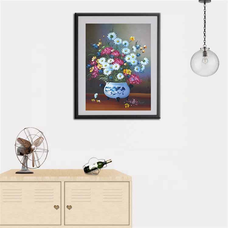 Tranh sơn dầu vẽ tay trên vải toan (canvas), tranh vẽ, tranh canvas, tranh hoa, tranh căn hộ, tranh trang trí, tranh hiện đại: VPVTV0005