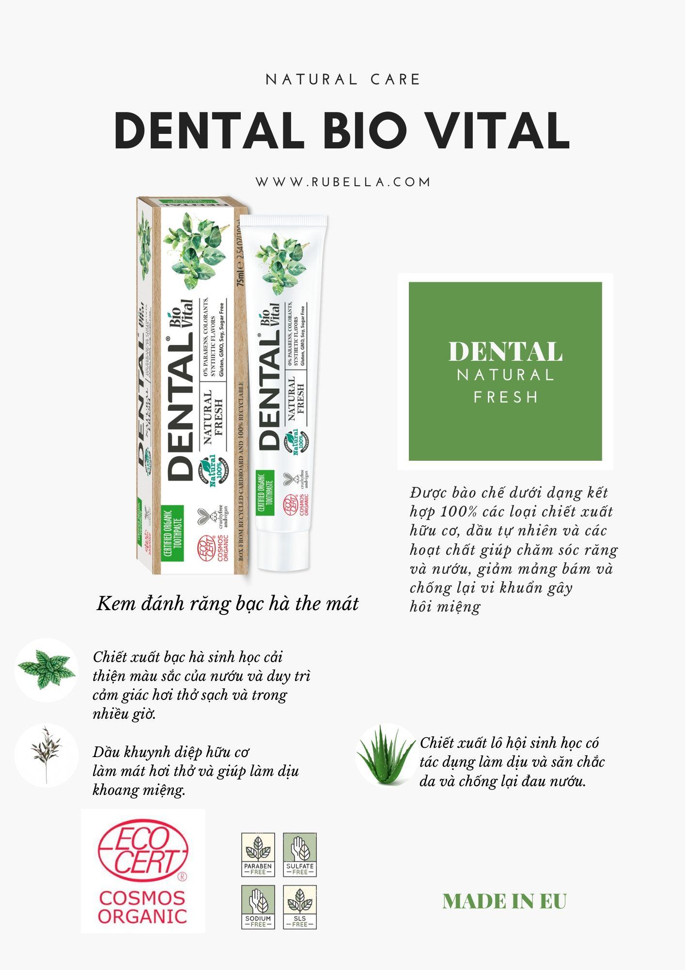 Kem Đánh Răng Hữu Cơ Nhập Khẩu Tươi Mát Dental Bio Vital Natural Fresh