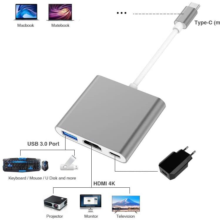 Hub Type-c HDMI cho Samsung Dex hỗ trợ sạc và usb 3.0
