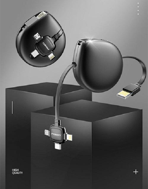 Cáp dây rút PISEN 3-in-1 (Lightning, Type-C, Micro) 1000mm Giọt nước- Hàng Chính Hãng