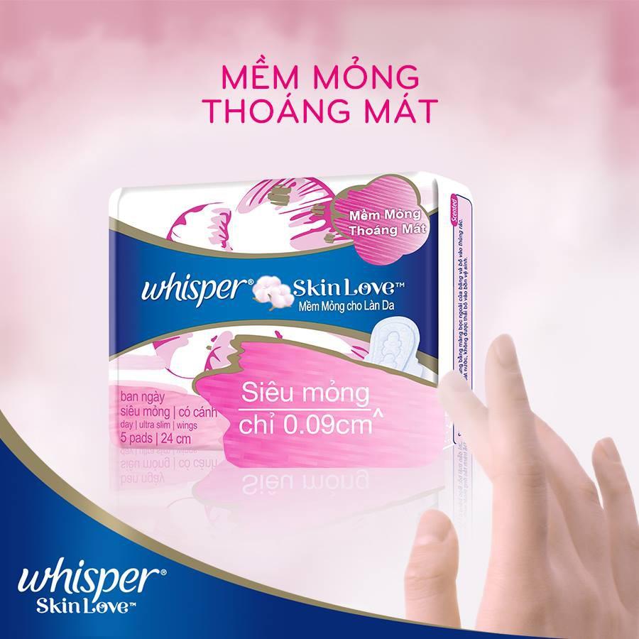 Combo 6 Băng Vệ Sinh Whisper SkinLove Siêu Mỏng Có Cánh Ngày Vừa 24cm (Gói 5  Miếng)