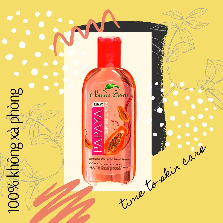Sữa rửa mặt dưỡng ẩm trắng da Papaya Facial Wash 100ml