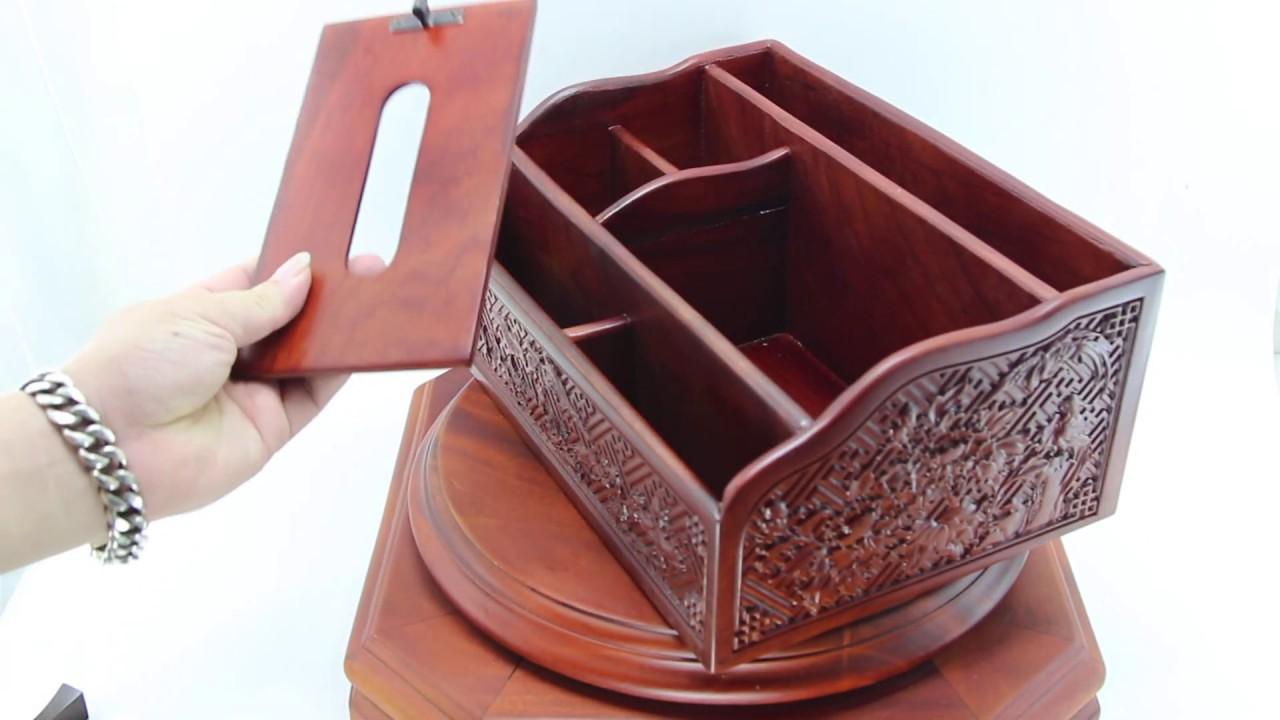 Hộp đựng khăn giấy đa năng để bàn làm việc bằng gỗ hương chạm khắc xinh xảo hàng cao cấp