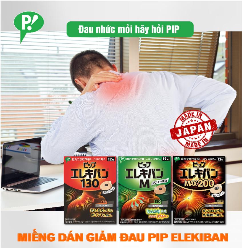 Miếng Dán Giảm Đau Pip Elekiban Size M (Hương Bạc Hà) Cải Thiện Tuần Hoàn Máu