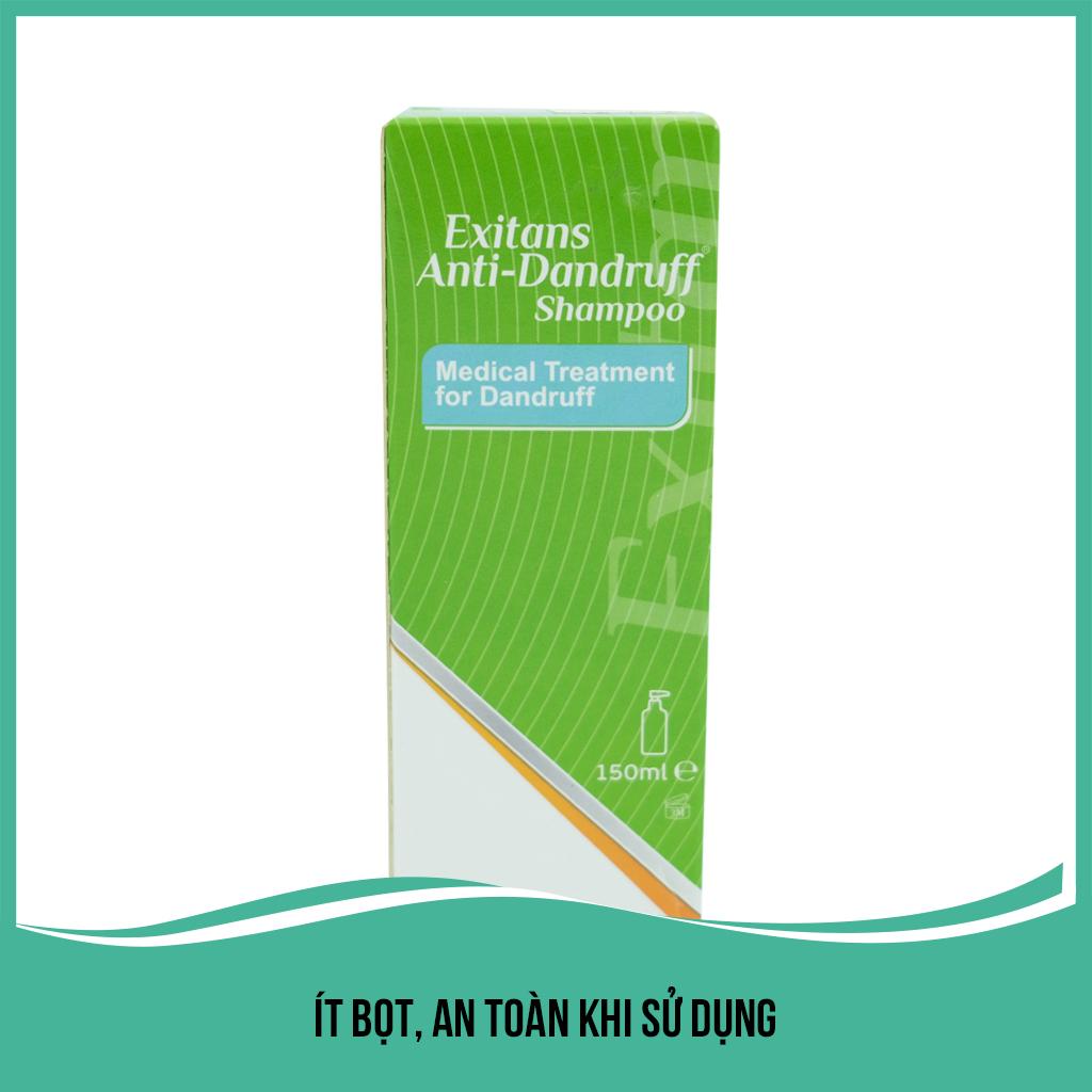 Dầu gội trị gàu nấm Lancopharm Exitans Anti Dandruff Shampo 150ml giúp sạch gàu và nấm, hết ngứa, không khô tóc hỗ trợ chống rụng tóc, tái tạo chân tóc