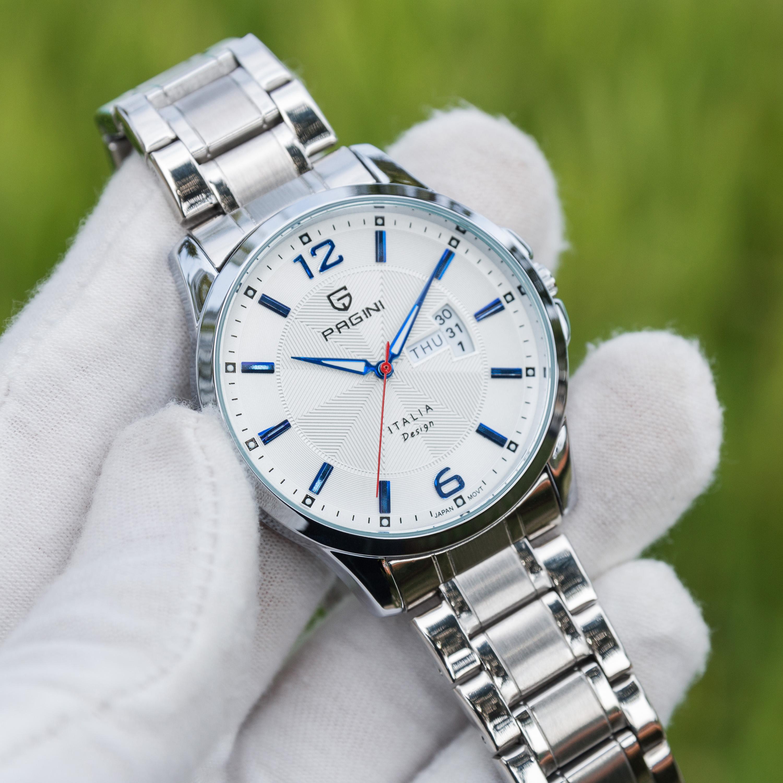 Đồng hồ nam PAGINI kim trôi lịch ngày cao cấp PA005533W – Dây thép không gỉ