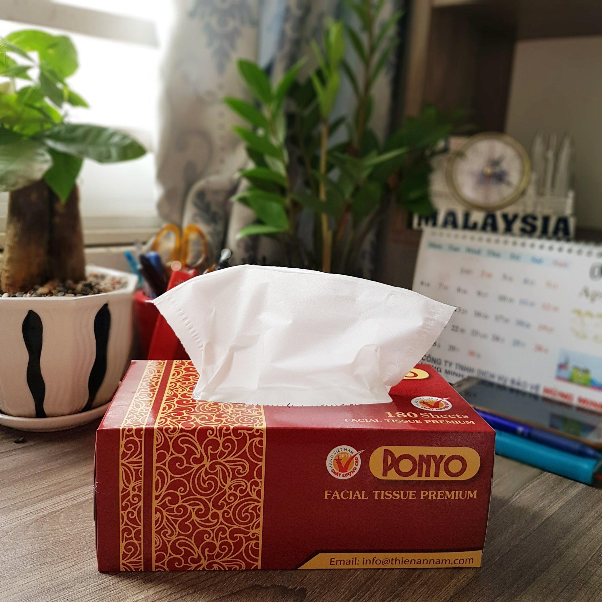 Thùng (12 hộp) khăn giấy hộp cao cấp PONYO - 180 tờ/ hộp - 180x200mm