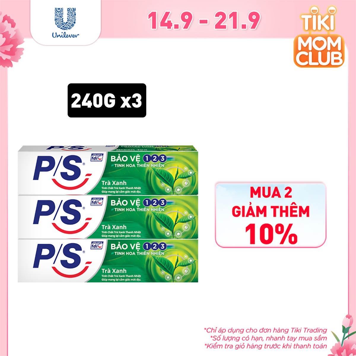 Combo 3 Kem Đánh Răng P/S Bảo Vệ 123 Trà Xanh 240g với tinh chất trà xanh thanh nhiệt giúp mang lại cảm giác mát dịu